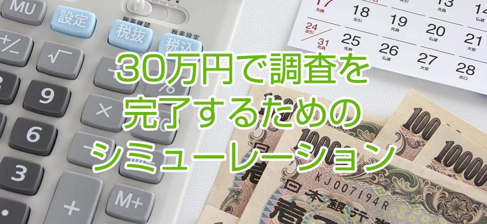 30万円で調査を完了するためのシミュレーション